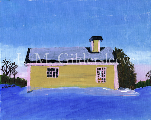 Painting of a yellow house in winter
