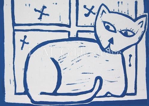 blue cat linocut
