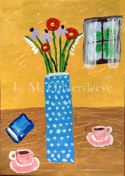 a painting of a vase on a tabel and two cups of coffee