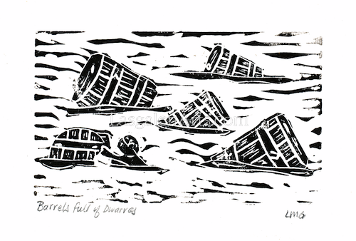 A print of barrels in a river and Bilbo Baggins