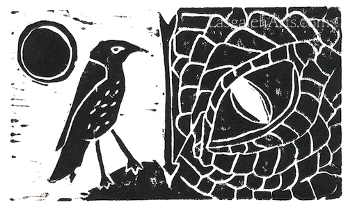 A print of Smaug and thrush