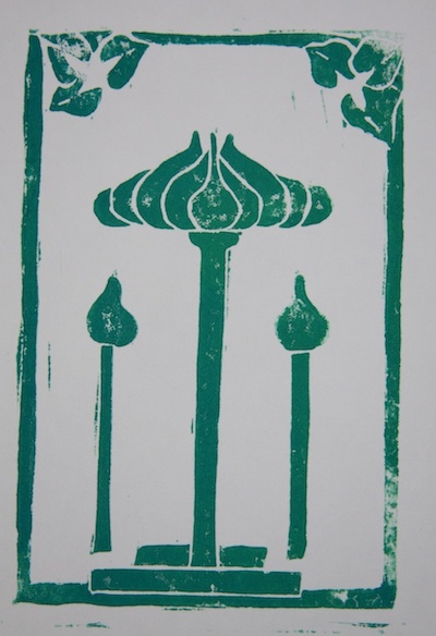 mono print of a lotus flower
