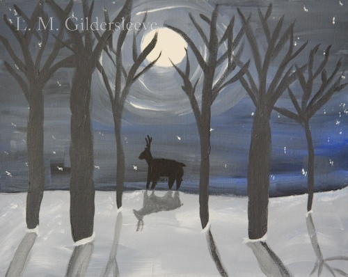 painting of a full moon in winter with bare trees and a deer.