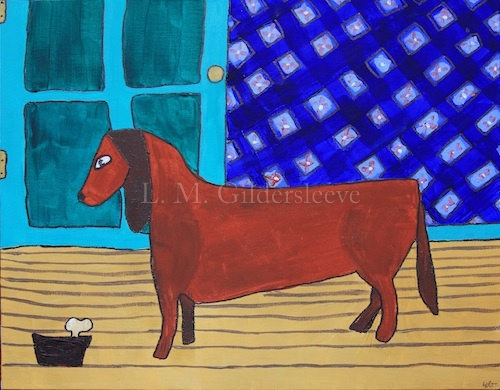 painting of a dachshund