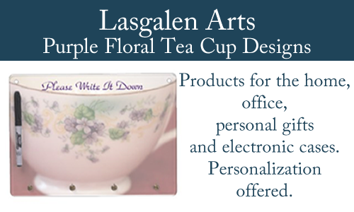 banner for purple floral tea cup products