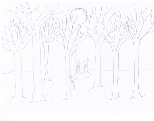 A pencil sketch of bare trees, the moon and a deer