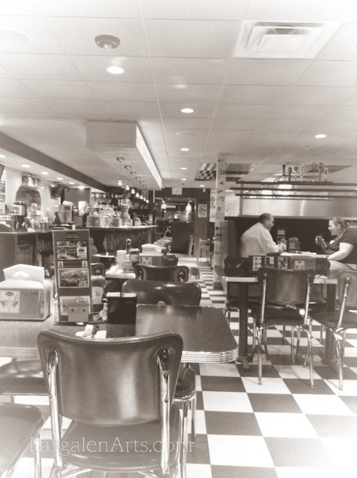 A photograph of an American diner.