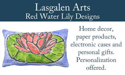 Red water lily print banner