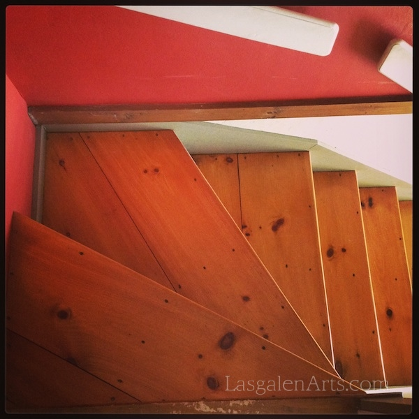 A photo of wooden stairs