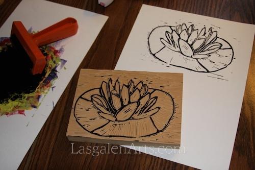 water lily mono print