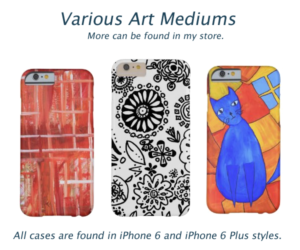 Drawn, mixed media and painted designed iPhone 6 and iPhone 6 Plus Cases