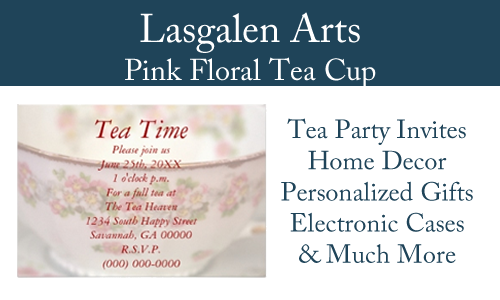 Display for pink floral tea cup merchandise