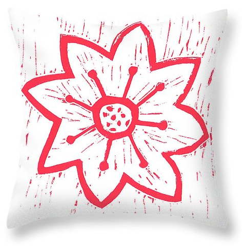 Red poinsettia on white  throw pillow.