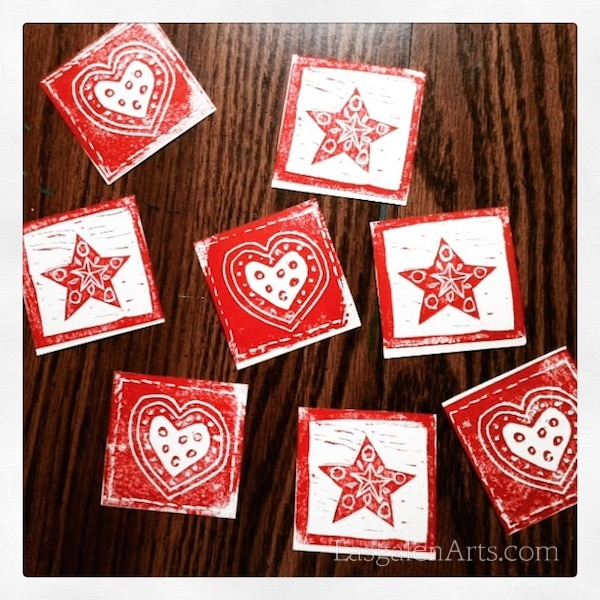 Scandinavian hearts and stars print project.