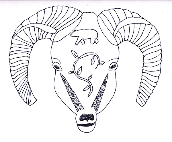 Simple line drawing of a mountain sheep's head.