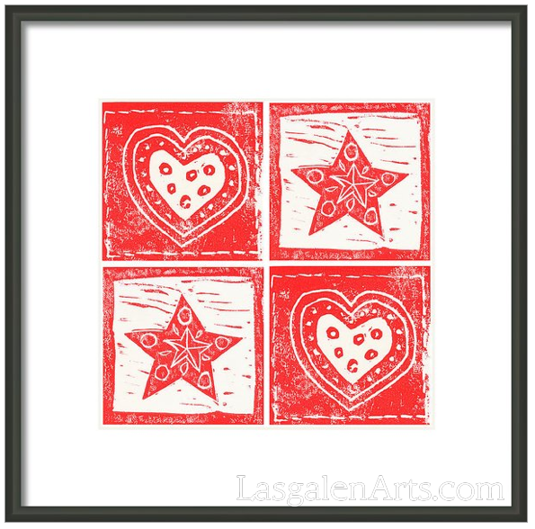 Pattern of four white hearts and red stars in a black framed print.