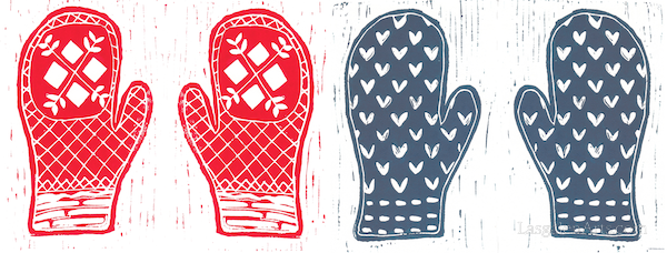 Red and blue Nordic mitten printed with linocut blocks