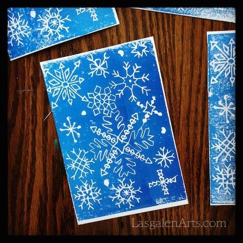 White snowflakes printed into intense blue.