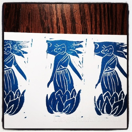 The Water Fairy stand in a lotus flower and is printed in blue ink.