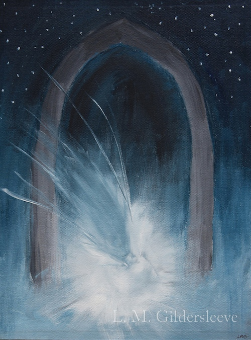 Abstract painting of stars in the sky, an arch and a bright white light.
