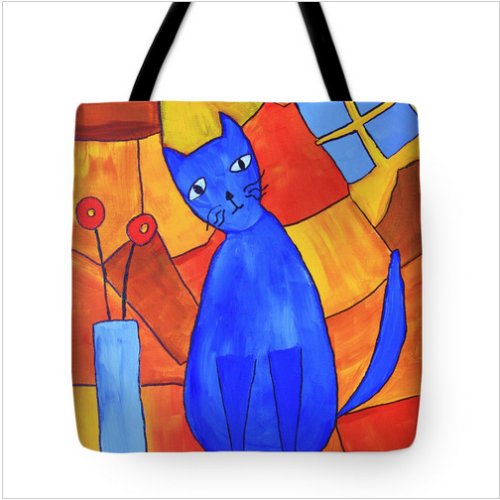 Blue cat painted designed tote bag.