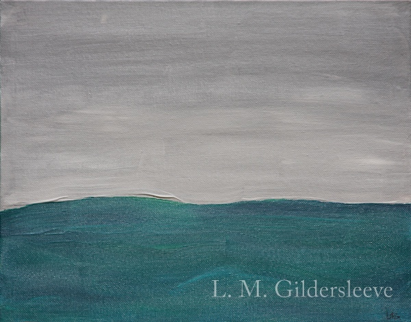 Acrylic painting painted in the minimalist form of an ocean and fog.