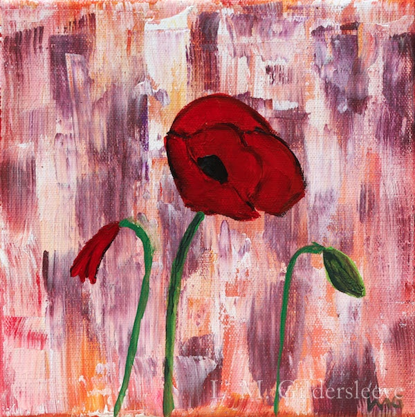 An abstract painting that includes large brush strokes and three poppies.