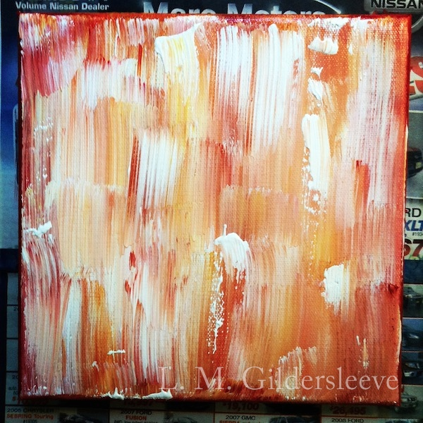 Deep red, orange, yellow and white abstract painting.