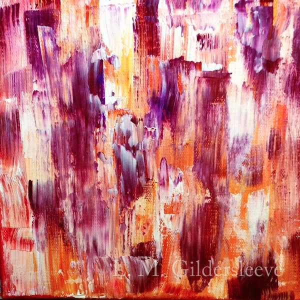 An abstract painting with warm colors of red, yellow, orange, white and purple.