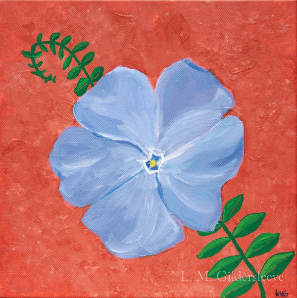 A painting of a five petaled vinca flower with a green vine and leaves.