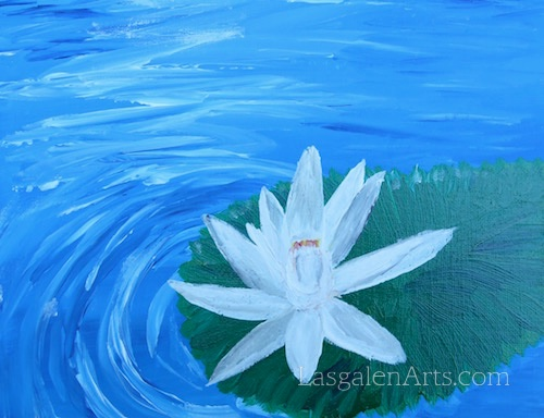 Painting of a white lotus flower