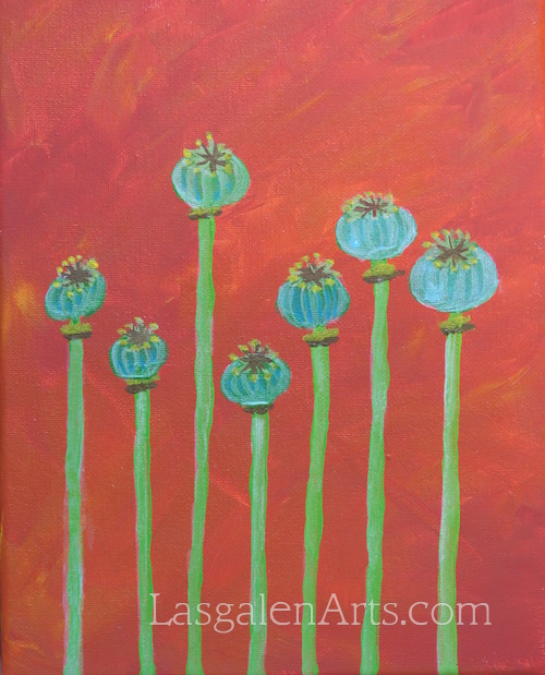 Painting of 7 blueish green poppy seed pods with a terracotta background.