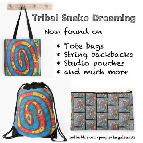 Various bags with tribal snake dreaming pictured.