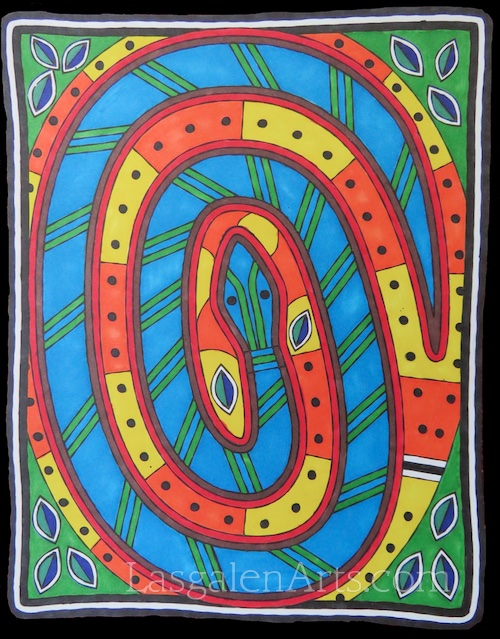 Bold colored Aboriginal mosaic of a coiled snake.